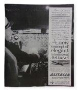Vintage Alitalia Airline Advertisement Fleece Blanket