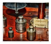 Vintage Apothecary Pharmacist Weights And Scale Fleece Blanket