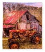 Vintage At The Farm Watercolors Painting Fleece Blanket
