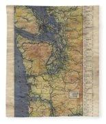 Vintage Auto Map Western Washington Olympic Peninsula Hand Painted Fleece Blanket