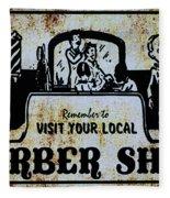 Vintage Barber Sign From The 1950s Fleece Blanket