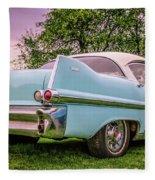 Vintage Blue Caddy American Vintage Car Fleece Blanket