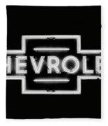 Vintage Chevrolet Neon Sign Fleece Blanket
