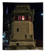 Vintage Chicago Bridge Tower At Night Fleece Blanket