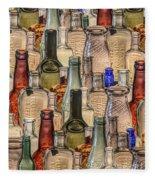 Vintage Glass Bottles Collage Fleece Blanket