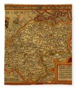 Vintage Map Of Belgium And Flanders Fleece Blanket