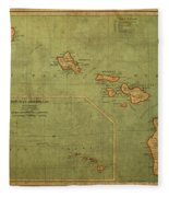 Vintage Map Of Hawaii Fleece Blanket