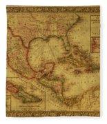 Vintage Map Of Mexico Fleece Blanket