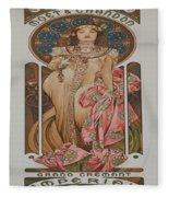 Vintage Poster - Champagne Fleece Blanket