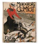 Vintage Poster - Motocycles Comiot Fleece Blanket