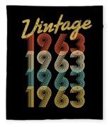 Vintage Retro Since 1963 Birthday Gift Fleece Blanket