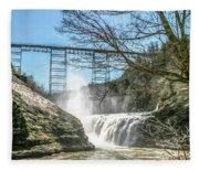 Vintage Train Trestle With Waterfalls Fleece Blanket