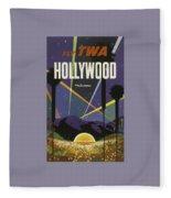 Vintage Travel Poster - Hollywood Fleece Blanket