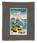 Vintage Travel Poster - Italy Fleece Blanket