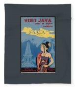Vintage Travel Poster - Java Fleece Blanket