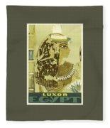Vintage Travel Poster - Luxor, Egypt Fleece Blanket