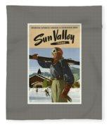 Vintage Travel Poster - Sun Valley, Idaho Fleece Blanket