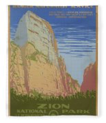 Vintage Zion Travel Poster Fleece Blanket