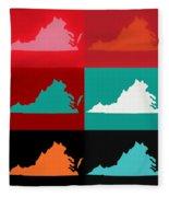 Virginia Pop Art Map Fleece Blanket