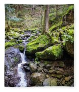 Vivid Green In The Black Forest Fleece Blanket