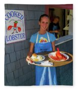 Waitress Serving Lobster  Fleece Blanket