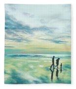 Walk At Sunset Fleece Blanket