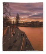 Walking Along The Seine At Sunset Fleece Blanket