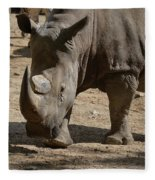 Walking Rhino With One Large Horn And One Small Horn Fleece Blanket