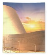 Wall Disney Concert Hall At Sunset Fleece Blanket