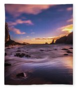 Washington Coast Sunset Sands Fleece Blanket