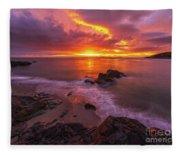 Washington Coast Sunset Serene Evening Fleece Blanket