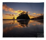 Washington Coast Weeping Lady Sunset Cloudscape Fleece Blanket