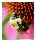 Water Drop On Bee Eye Fleece Blanket