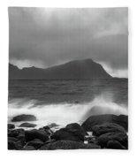 Water Hits The Coastline During Storm Fleece Blanket