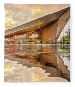 Water Reflection Central Station Rotterdam Fleece Blanket