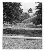 Water Spray Orchard Fleece Blanket