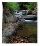 Water Stream On The River With Small Waterfalls Fleece Blanket