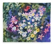 Watercolor - Alpine Wildflower Design Fleece Blanket