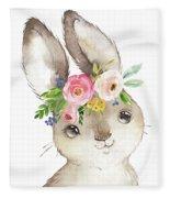 Watercolor Boho Bunny Rabbit Art Print Fleece Blanket