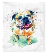 Watercolor Bulldog Fleece Blanket
