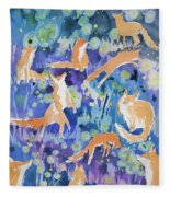 Watercolor - Fox And Firefly Design Fleece Blanket