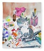 Watercolor - Kitten On My Painting Table Fleece Blanket