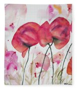 Watercolor - Poppy Portrait Fleece Blanket