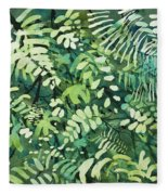 Watercolor - Rainforest Canopy Design Fleece Blanket