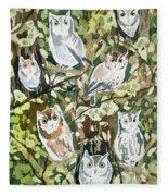 Watercolor - Screech Owl And Forest Design Fleece Blanket