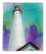 Watercolor Sky Lighthouse Fleece Blanket