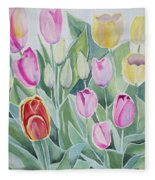Watercolor - Spring Tulips Fleece Blanket