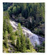 Waterfall In The Mountains. Fleece Blanket