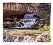 Waterfalls Through Stone Bridge Fleece Blanket