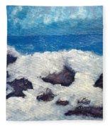 Wave Over Rocks Fleece Blanket